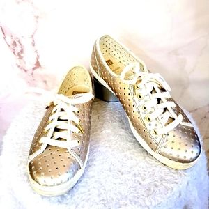 Kate Spade Keds gold chrome sneakers